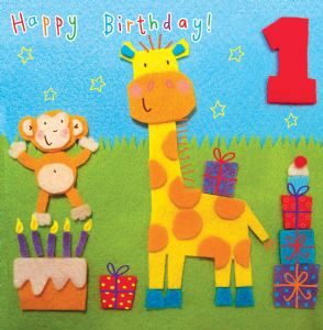 Age 1 Giraffe Birthday Card TW256
